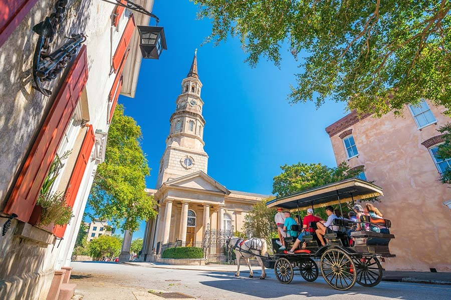 About Our Agency - View of a Horse Drawn Carriage Ride in the Historical Downtown Area of Charleston, South Carolina
