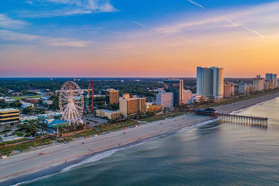 Myrtle Beach, SC - Aerial View of Pier and Coast at Myrtle Beach South Carolina at Sunset